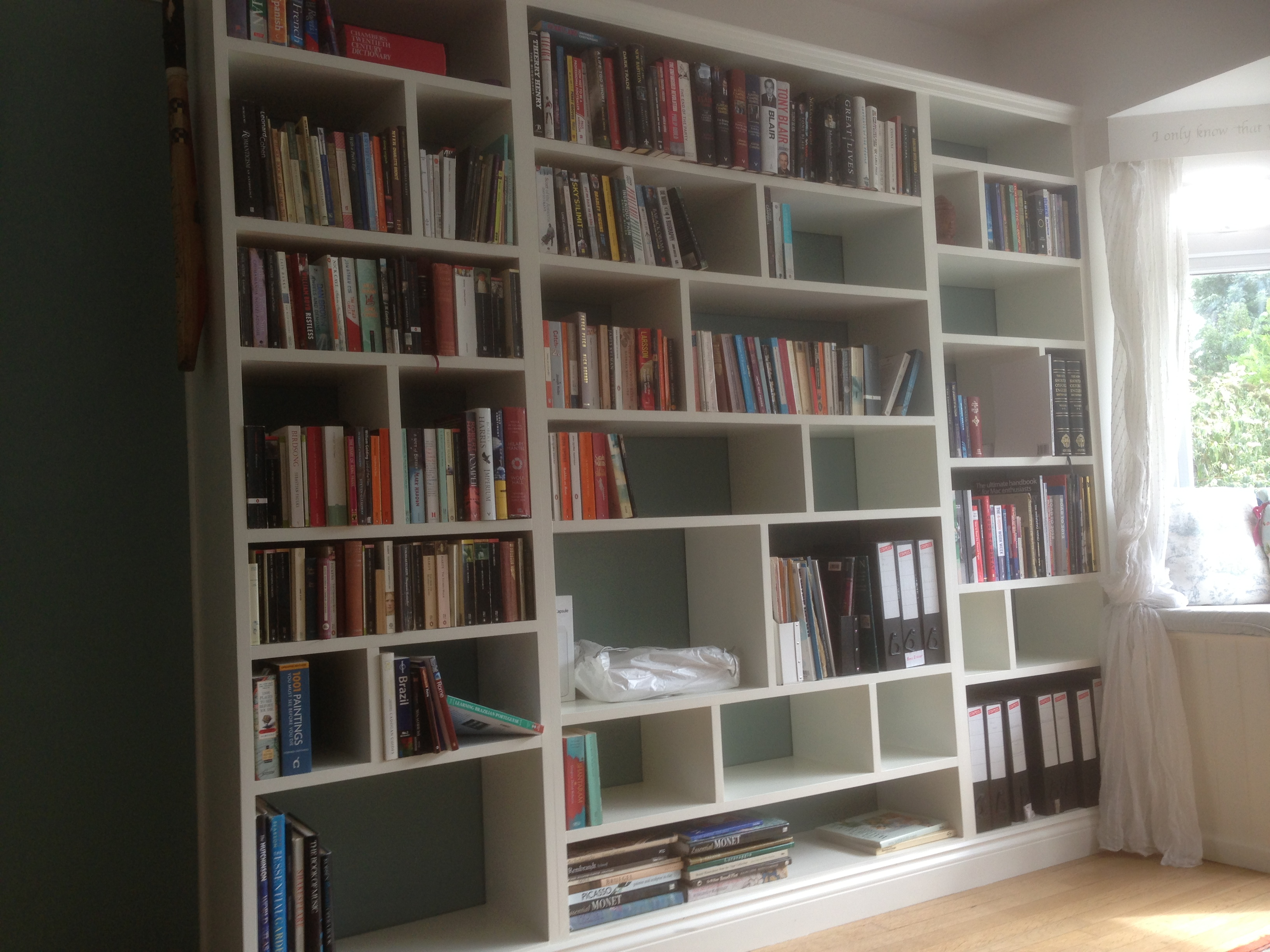 Fitted shelving cupboards and flooring p d carpentry - What did the wall say to the bookcase ...